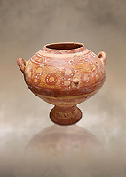 Minoan decorted   clay 2 handled pot , Knossos Palace 1500-1450 BC BC, Heraklion Archaeological  Museum.Cat No: 15047
