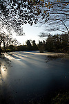 Frozen pond, Loam Ponds, Sutton, Suffolk, England