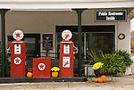 Red Texaco gas pumps at the Lynchburg, Tenn, Welcome Center; Halloween decorations
