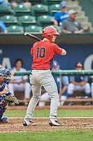 Erven Roper (10) of the Orem Owlz bats against the Ogden Raptors at Lindquist Field on August 4, 2018 in Ogden, Utah. The Owlz defeated the Raptors 15-12. (Stephen Smith/Four Seam Images)
