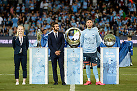 28th February 2020; Netstrata Jubilee Stadium, Sydney, New South Wales, Australia; A League Football, Sydney FC versus Western Sydney Wanderers; representatives from the Westfield W-League,Hyundai A-League and Foxtel Youth teams show their silverware as the first club to hold all three trophys