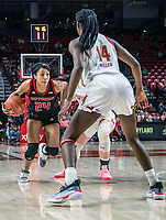 COLLEGE PARK, MD - FEBRUARY 9: Arella Guirantes #24 of Rutgers moves up on Diamond Miller #14 of Maryland during a game between Rutgers and Maryland at Xfinity Center on February 9, 2020 in College Park, Maryland.