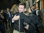 © Joel Goodman - 07973 332324 . 05/05/2017 . Manchester , UK . ANDY BURNHAM hugs his family after his victory , at the declaration . The count for council and Metro Mayor elections in Greater Manchester at the Manchester Central Convention Centre . Photo credit : Joel Goodman