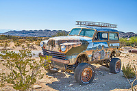 You will find  art everywhere in Terlingua Ghost Town in far west Texas.  The people who live here will create their art on whatever canvas they can find.  We thought this was a real treat.  We are not sure what kind of vehicle this is it may be someones creation from body part, but whatever it is the art is cool.