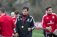 Team manager Chris Coleman during Wales national team training ahead of the International Friendly match and Euro 2016 warm up match against Northern Ireland at Vale Resort, Hensol, Wales on 22 March 2016. Photo by Mark  Hawkins / PRiME Media Images.