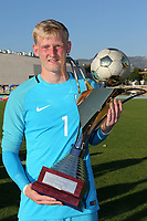 England goalkeeper, Ryan Schofield, who saved one of the Ivory Coast penalties in the shoot-out celebrates with the Trophy during England Under-18 vs Ivory Coast Under-20, Toulon Tournament Final Football at Stade de Lattre-de-Tassigny on 10th June 2017
