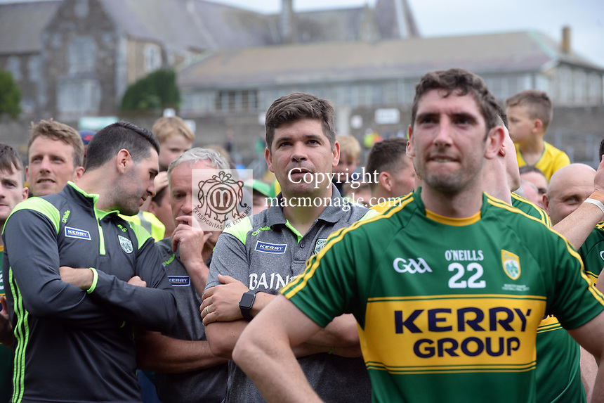 2-7-2017: A happy Eamonn Fitzmaurice at the Kerry V Cork Munster Football final in Killarney on Sunday.<br /> Photo: Don MacMonagle