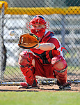 29 June 2012: Lowell Spinners' catcher J.T. Watkins warms up in the bullpen prior to a game against the Vermont Lake Monsters at Centennial Field in Burlington, Vermont. Mandatory Credit: Ed Wolfstein Photo