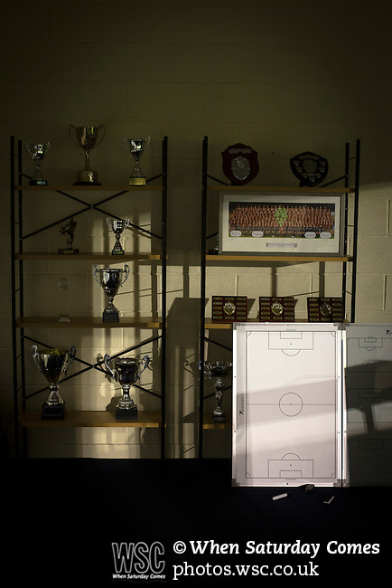 Connah's Quay Nomads 1 Llandudno 1, 20/09/2016. Deeside Stadium, Welsh Premier League. Trophies and other equipment in a room at the Deeside Stadium as Connah's Quay Nomads played Llandudno in a Welsh Premier League match. Both clubs represented Wales in the 2016-17 Europa League, the first time either had competed in European competition. The match ended in a 1-1 draw, watched by 181 spectators. Photo by Colin McPherson.