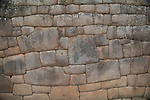 A stone wall at Machu Pichu. The stones are closely fitted without the use of mortar.