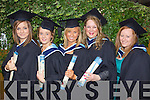 Sally Millis, Killarney, Aoife McSweeney, Kilcummin, Siobhan Breen, Castleisland, Charlotte Martin, Castleisland, and Sharon Fealy, Abbeydorney who graduated with a Bachelor of Arts (Honours) in Social Care at the Autumn graduations which took place at the Brandon hotel on Friday.