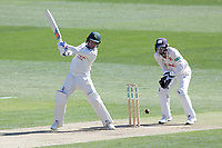 Tom Moores hits out for Notts as Robbie White looks on from behind the stumps during Essex CCC vs Nottinghamshire CCC, Specsavers County Championship Division 1 Cricket at The Cloudfm County Ground on 14th May 2019