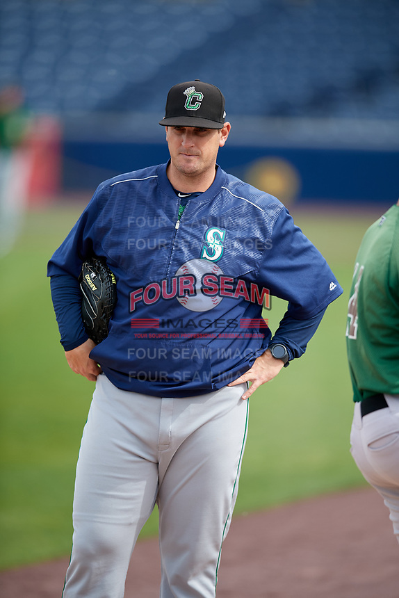Clinton LumberKings pitching coach Doug Mathis (17) before a game against the West Michigan Whitecaps on May 3, 2017 at Fifth Third Ballpark in Comstock Park, Michigan.  West Michigan defeated Clinton 3-2.  (Mike Janes/Four Seam Images)