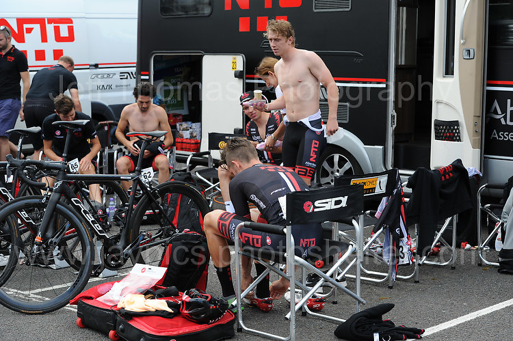 """The NFTO cycling team prepare for the race during the Abergavenny Festival of Cycling """"Grand Prix of Wales"""" race on Sunday 17th 2016<br /> <br /> <br /> Jeff Thomas Photography -  www.jaypics.photoshelter.com - <br /> e-mail swansea1001@hotmail.co.uk -<br /> Mob: 07837 386244 -"""