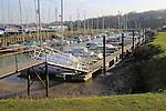 Boats at moorings in marina, Tidemill Yacht harbour, River Deben, Woodbridge, Suffolk, UK