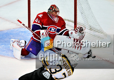24 September 2009: Montreal Canadiens' goaltender Jaroslav Halak makes a third period skate save against the Boston Bruins at the Bell Centre in Montreal, Quebec, Canada. The Bruins edged out the Canadiens 2-1 after an overtime shootout in a pre-season matchup. Mandatory Credit: Ed Wolfstein Photo