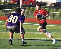 RICK PECK/SPECIAL TO MCDONALD COUNTY PRESS McDonald County wide receiver Keegan Driscoll heads upfield after catching a pass during the Mustangs' 7-on-7 scrimmage against Monett on June 10 at Monett High School.