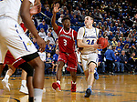BROOKINGS, SD - FEBRUARY 23: Alex Arians #34 of the South Dakota State Jackrabbits drives the lane against Triston Simpson #3 of the South Dakota Coyotes Sunday at Frost Arena in Brookings, SD. (Photo by Dave Eggen/Inertia)