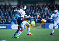 Sido Jombati of Wycombe Wanderers and Danny Hylton of Luton Town during the Sky Bet League 2 match between Wycombe Wanderers and Luton Town at Adams Park, High Wycombe, England on the 21st January 2017. Photo by Liam McAvoy.