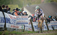 Koppenbergcross 2013<br /> <br /> Nikki Harris (GBR) on the famous Koppenberg cobbles