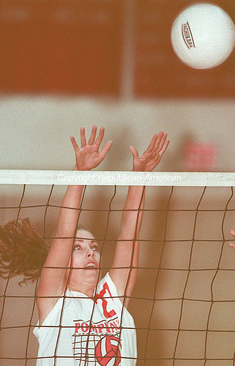 SOUTHBURY, CT 10/28/98--1028CA02.tif #27 Eve Holibaugh from Pomperaug Volleyball team attempts to block the shot against Kolbe Cathedral at Pomperaug High School.--CRAIG AMBROSIO staff  / STAND ALONE PHOTO  (Filed in Scans/Scan-In)