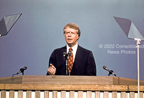 Governor Jimmy Carter (Democrat of Georgia), the 1976 Democratic Party nominee for President of the United States, delivers his acceptance speech at the 1976 Democratic Convention at Madison Square Garden, New York, New York on July 15, 1976.<br /> Credit: Arnie Sachs / CNP