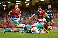 Wales Elliot Dee nearly scores Wales second try but knocks it forward<br /> <br /> Photographer Ian Cook/CameraSport<br /> <br /> 2019 Under Armour Summer Series - Wales v Ireland - Saturday 31st August 2019 - Principality Stadium - Cardifff<br /> <br /> World Copyright © 2019 CameraSport. All rights reserved. 43 Linden Ave. Countesthorpe. Leicester. England. LE8 5PG - Tel: +44 (0) 116 277 4147 - admin@camerasport.com - www.camerasport.com