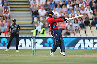 England's Jason Roy hits a boundary. New Zealand Blackcaps v England. Tri-Series International Twenty20 cricket. Seddon Park, Hamilton, New Zealand on Sunday 18 February 2018.<br /> <br /> Copyright photo: &copy; Bruce Lim / www.photosport.nz