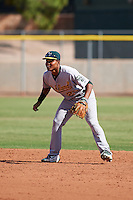 Oakland Athletics second baseman Richie Martin (20) during an instructional league game against the Los Angeles Angels on October 9, 2015 at the Tempe Diablo Stadium Complex in Tempe, Arizona.  (Mike Janes/Four Seam Images)