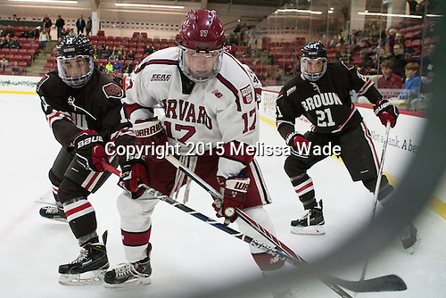 Max Gottlieb (Brown - 11), Sean Malone (Harvard - 17), Davey Middleton (Brown - 21) - The Harvard University Crimson defeated the visiting Brown University Brown Bears 5-2 (EN) on Saturday, November 7, 2015, at Bright-Landry Center in Boston, Massachusetts.