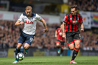 Harry Kane of Tottenham Hotspur and Charlie Daniels of Bournemouth during the Premier League match between Tottenham Hotspur and Bournemouth at White Hart Lane, London, England on 15 April 2017. Photo by Mark  Hawkins / PRiME Media Images.