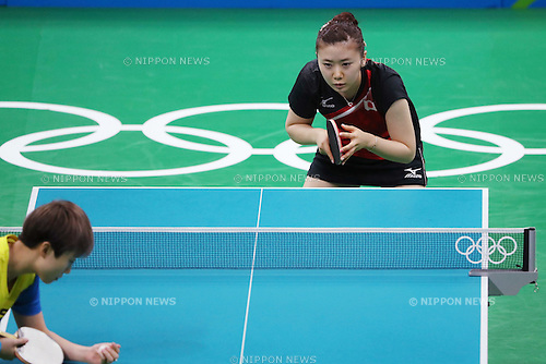 Ai Fukuhara (JPN), <br /> AUGUST 9, 2016 - Table Tennis : <br /> Women's Singles Quarter-final<br /> at Riocentro - Pavilion 3 <br /> during the Rio 2016 Olympic Games in Rio de Janeiro, Brazil. <br /> (Photo by Koji Aoki/AFLO SPORT)