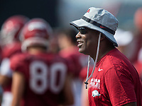 NWA Democrat-Gazette/BEN GOFF @NWABENGOFF<br /> Turner Gill, assistant to the head coach, watches practice Wednesday, Aug. 7, 2019, at the Arkansas practice fields in Fayetteville.