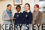 Pictured are students from Presentation Secondary School Tralee, who raised  €1115 from a non uniform day for Jigsaw Kerry, l-r: Triona Casey (Jigsaw Kerry) Increase Akinyemi (fellow head girl) Polly Gill (Head girl) Kayleigh Power (Third year social care student on placement with Jigsaw Kerry).