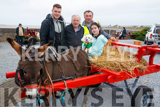 Sean Kerins, Patrick Dillane, Shane Savage, Hannah Mullins, with Millie The Dog pictured at the Blennerville Treshing Festival on Sunday.