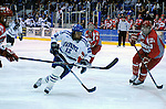 March 14, 2009:   Air Force wing, Matt Fairchild (12), in action as the Falcons fall 4-1 to Sacred Heart to even the Atlantic Hockey Association playoff series at Cadet Ice Arena, U.S. Air Force Academy, Colorado Springs, Colorado.