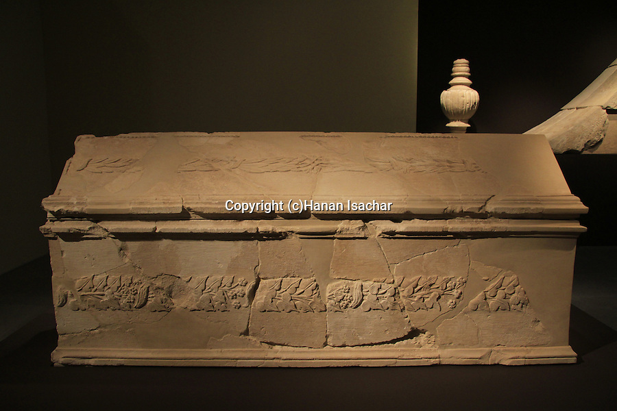 Israel, Jerusalem, a stone sarcophagus from Herodion on display at the Herod the Great: The King's Final Journey exhibition at the Israel Museum
