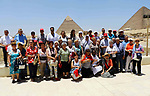 Delegation of the Italian Christian pilgrimage visit the Giza Pyramids on the outskirts of Cairo, Egypt, on June 18, 2018. Photo by Amr Sayed