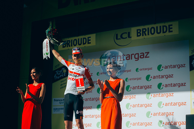 Tiesj Benoot (BEL) Lotto-Soudal wins the day's combativity prize at the end of Stage 9 of the 2019 Tour de France running 170.5km from Saint-Etienne to Brioude, France. 14th July 2019.<br /> Picture: ASO/Thomas Maheux   Cyclefile<br /> All photos usage must carry mandatory copyright credit (© Cyclefile   ASO/Thomas Maheux)