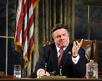 NATHAN LANE, as incumbent U.S. president Charles Smith in David Mamet's new comedy, NOVEMBER.  Ethel Barrymore Theatre, 243 W. 47 St., NYC.  Newsday/ARI MINTZ  12/21/2007.