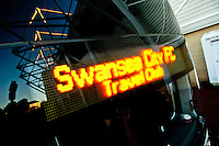 Saturday 11 January 2014<br /> Pictured:Sign on the front of one of the coaches<br />  Re: Swansea City Travel Club