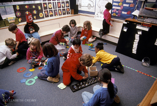 San Francisco CA Multi-ethnic kindergartners in multi-activity class (small 20 person classsroom)
