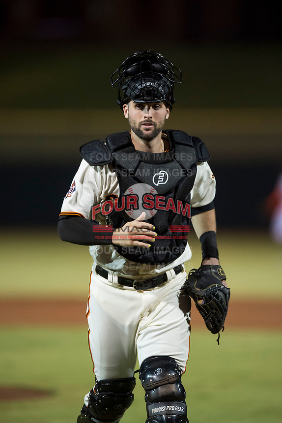 Scottsdale Scorpions catcher Matt Winn (16), of the San Francisco Giants organization, during an Arizona Fall League game against the Mesa Solar Sox on October 9, 2018 at Scottsdale Stadium in Scottsdale, Arizona. The Solar Sox defeated the Scorpions 4-3. (Zachary Lucy/Four Seam Images)