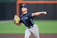 Wilmington Blue Rocks relief pitcher Richard Lovelady (14) in action against the Buies Creek Astros at Jim Perry Stadium on April 29, 2017 in Buies Creek, North Carolina.  The Astros defeated the Blue Rocks 3-0.  (Brian Westerholt/Four Seam Images)