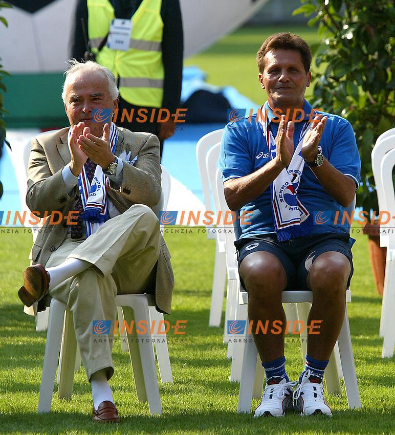 Genova 19/07/2003 <br /> Presentazione della Sampdoria<br /> Il presidente della Sampdoria Riccardo Garrone e l'allenatore Walter Novellino<br /> foto andrea Staccioli Insidefoto