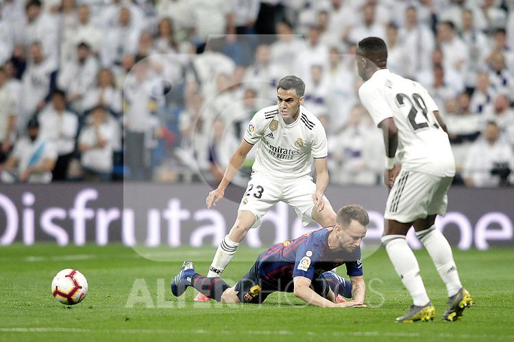 Real Madrid CF's Sergio Reguilon, Vinicius Junior and FC Barcelona's Sergio Busquets during La Liga match. March 02,2019. (ALTERPHOTOS/Alconada)