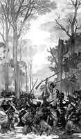 Clark's march against Vincennes across the Wabash through wilderness and flood.  George Rogers Clark, February 1779.  Copy of painting by Ezra Winter, ca.  1933-34. (Commission of Fine Arts)<br />Exact Date Shot Unknown<br />NARA FILE #:  066-G-5-106<br />WAR & CONFLICT #:  38