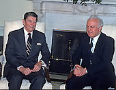 United States President Ronald Reagan meets Foreign Minister Eduard Shevardnaze of the Union of Soviet Socialist Republics in the Oval Office of the White House in Washington, D.C. on March 23, 1988.  Shevardnadze passed away on July 7, 2014 at age 86.<br /> Credit: Ron Sachs / CNP