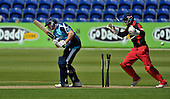 Welsh Dragons (Glamorgan) V Scottish Saltires at the SWALEC Stadium (Cardiff) - the end for Saltires' Richie Berrington bowled Allenby for 6 - Dragons keeper is Mark Wallace - picture by Donald MacLeod - 29.7.12 - 07702 319 738 - clanmacleod@btinternet.com - www.donald-macleod.com