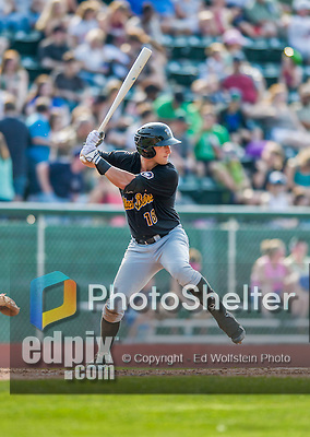 12 July 2015: West Virginia Black Bears outfielder Logan Hill in action against the Vermont Lake Monsters at Centennial Field in Burlington, Vermont. The Lake Monsters rallied to defeat the Black Bears 5-4 in NY Penn League action. Mandatory Credit: Ed Wolfstein Photo *** RAW Image File Available ****